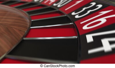 Casino roulette wheel ball hits 18 eighteen red