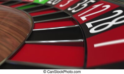 Casino roulette wheel ball hits 19 nineteen red