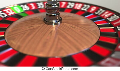 Casino roulette wheel ball hits 2 two black. 3D animation -...