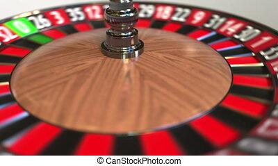 Casino roulette wheel ball hits 21 twenty-one red. 3D...