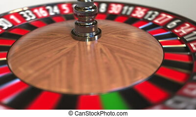 Casino roulette wheel ball hits 22 twenty-two black. 3D...