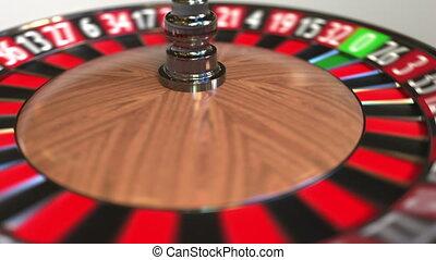 Casino roulette wheel ball hits 23 twenty-three red. 3D...