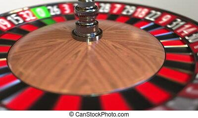 Casino roulette wheel ball hits 25 twenty-five red. 3D...