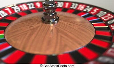 Casino roulette wheel ball hits 26 twenty-six black. 3D...