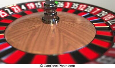 Casino roulette wheel ball hits 27 twenty-seven red. 3D...