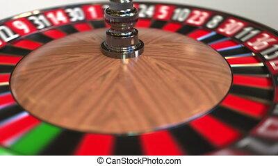 Casino roulette wheel ball hits 28 twenty-eight black. 3D...