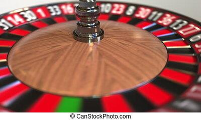 Casino roulette wheel ball hits 29 twenty-nine black. 3D...