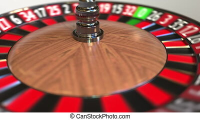 Casino roulette wheel ball hits 30 thirty red. 3D animation...