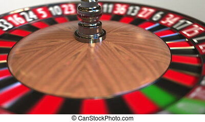 Casino roulette wheel ball hits 31 thirty-one black. 3D...