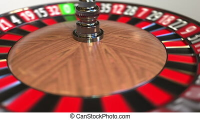 Casino roulette wheel ball hits 34 thirty-four red. 3D...