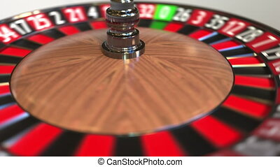 Casino roulette wheel ball hits 36 thirty-six red. 3D...