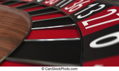 Casino roulette wheel ball hits 5 five red