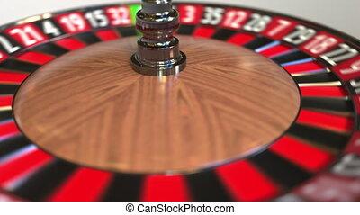 Casino roulette wheel ball hits 6 six black. 3D animation -...