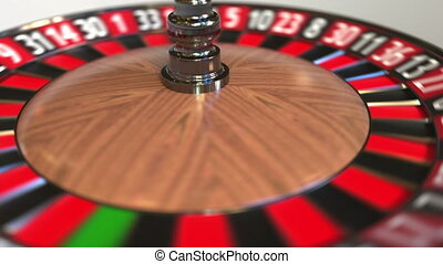 Casino roulette wheel ball hits 7 seven red. 3D animation -...