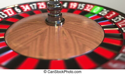 Casino roulette wheel ball hits 8 eight black. 3D animation...