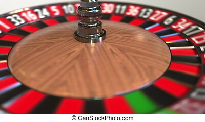 Casino roulette wheel ball hits 9 nine red. 3D animation -...