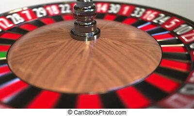 Casino roulette wheel ball hits zero, 3D animation - Casino...