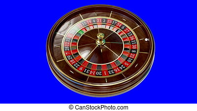 Casino roulette wheel. - Casino roulette wheel on blue ...