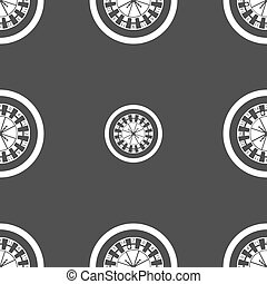 casino roulette wheel icon sign. Seamless pattern on a gray background. Vector