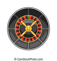 Casino roulette wheel isolated on white background