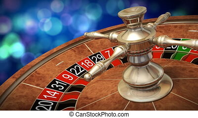 Casino roulette wheel against defocused background