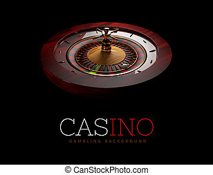 Casino Roulette Wheel with a ball. isolated black, 3D Rendering.