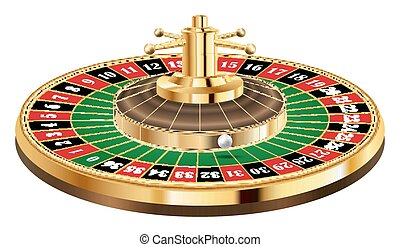 casino roulette with ball  on a white background