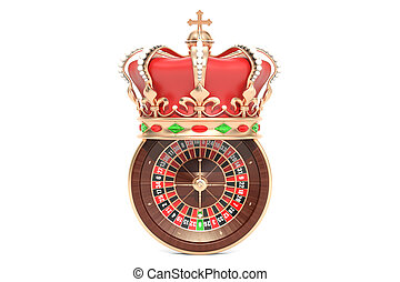 Casino roulette with royal crown, 3D rendering