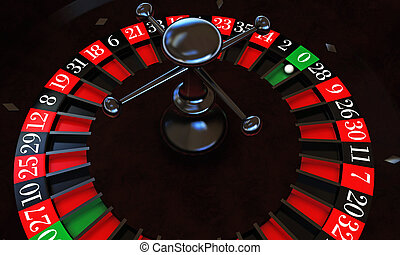 roulette - casino roulette with white ball on zero