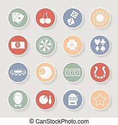 Casino round icons set. Vector illustration