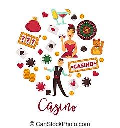 Casino round promo emblem with gambling equipment set -...