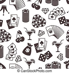 Casino seamless pattern design. Dice, playing cards seamless background