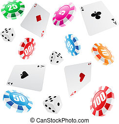 casino seamless pattern - playing cards, roulette chips and...