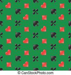 Casino seamless pattern with card suits on green background. Vector illustration.