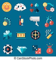 casino, set, iconen