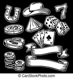 Casino set symbols and stetson.