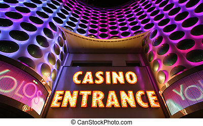 Casino Sign - Casino entrance sign in lights at the Las...