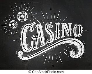 Casino sign chalk