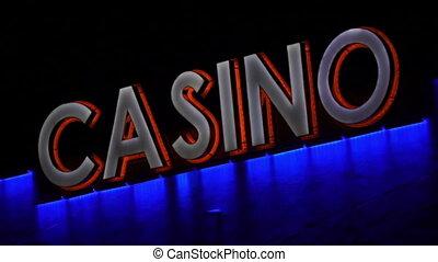Casino Sign Closeup Handheld