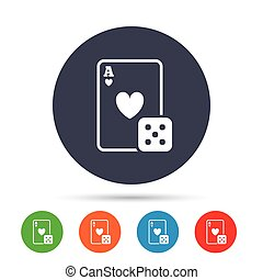 Casino sign icon. Playing card with dice symbol.