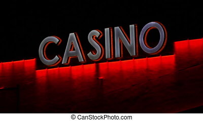 Casino Sign LED Lights Static - Static shot of an evening...