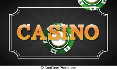 Casino sign over black background HD animation