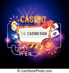 Casino Sign Vector - Casino Party Vector - Role the dice -...
