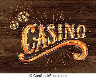Casino sign wood