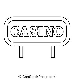 Casino signboard icon, outline style