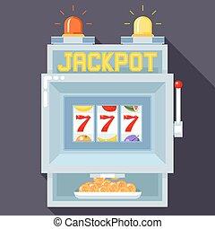 Casino slot gambling machine. Vector UI game template