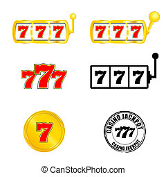 casino slot jackpot with 777 vector illustration