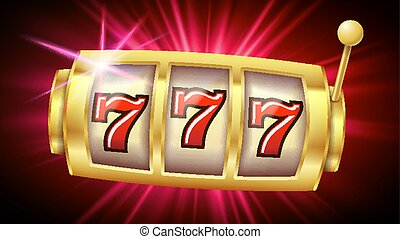 Casino Slot Machine Banner Vector. Casino Game. Lucky Slot. Poster. Illustration