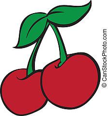 Casino Slot Machine Style Cherries - Vector Illustration of...
