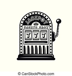 Casino slot machine vector object in monochrome style isolated on white background